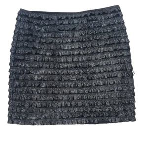 Guess by Marciano Fringe Black Mini Skirt